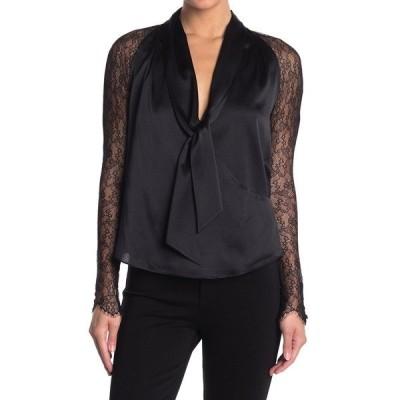 ジョナサンシムカイ レディース シャツ トップス Tie Neck Long Sleeve Lace & Satin Blouse BLACK