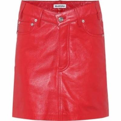 バレンシアガ Balenciaga レディース ミニスカート スカート high-rise leather miniskirt Red