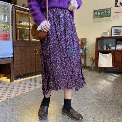 小花柄 SK 韓国 ロング ストリート スカート オルチャン きれいめ 40代 かわいい 原宿 レディース レトロ ガーリー 30代 大人