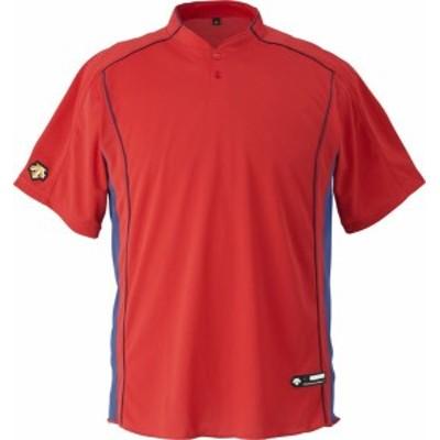 DESCENTE(デサント) 野球 立衿2ボタンベースボールシャツ レッド XAサイズ DB109B