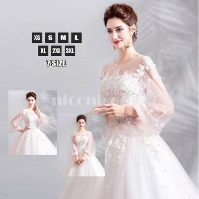 ウエディングドレス プリンセス レース ゴージャス ロングドレス 丸ネック 袖あり 刺繍 透け感 花嫁 新作 人気 結婚式
