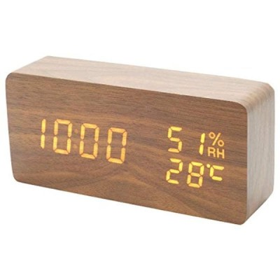 システムK 置き時計 デジタル時計 木目調 おしゃれ アラーム付き 目覚まし 気温計 湿度計 ブラウン