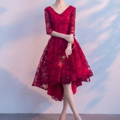 パーティードレス フィシュテール 7分袖 レース シースルー おしゃれ フェミニン 赤 ブライドメイドお呼ばれドレス 二次会 ドレス 結婚