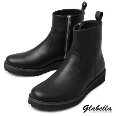 ショートブーツ タンクソール サイドジップ ドレスブーツ ミドルブーツ レザーブーツシューズ 靴 メンズ(ブラック黒) glbb177
