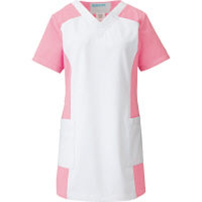 KAZENKAZEN レディススクラブ 医療白衣 半袖 ホワイト×チェリーピンク 3L 016-23(直送品)