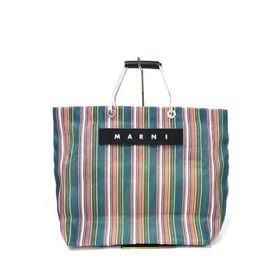 【中古】MARNI マルニ バック ショッピング トートバッグ マルニマーケット ストライプ メッシュ グリーン