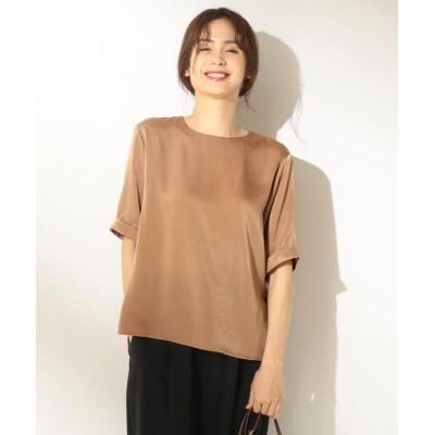 L size ONWARD(大きいサイズ) / 【洗える】サテン トップス WOMEN トップス > Tシャツ/カットソー