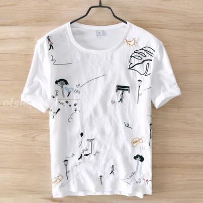 Tシャツ メンズ 半袖Tシャツ リネンTシャツ 綿 麻 刺繍 Tシャツ 半袖 薄手 涼しい 夏物 新作