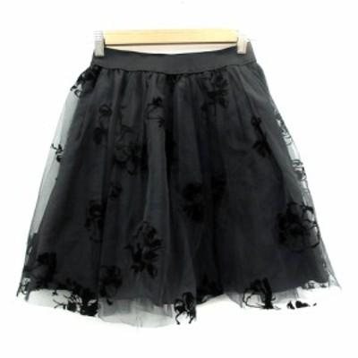 【中古】トランテアン ソン ドゥ モード スカート チュール フレア ミニ丈 花柄 36 黒 ブラック /SM12 レディース