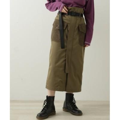 【ダブルネーム/DOUBLE NAME】 ベルト付きナイロンナロースカート