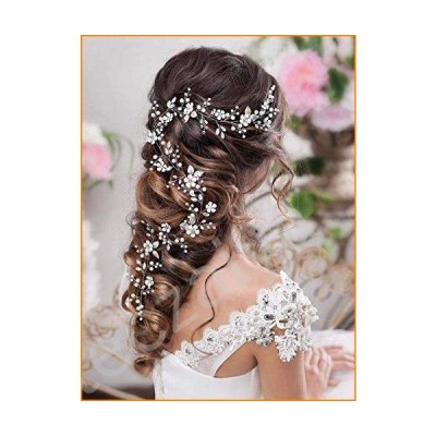 Barogirl Bride Wedding Headband Flower Hair Vine Crystal Bridal Hair Accessories for Women (Gold)並行輸入品