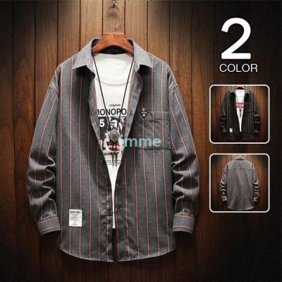 カジュアルシャツ メンズ 長袖シャツ ストライプ柄 ビッグシルエット 秋服 おしゃれ トップス 40代 2020 新作