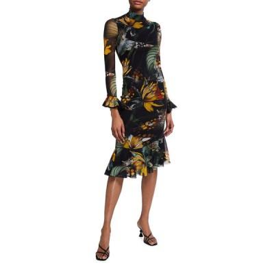 フィッジ レディース ワンピース トップス Jungle-Print Mock-Neck Ruffle Dress