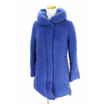 【中古】グローバルワーク GLOBAL WORK ビッグカラー 中綿 コート ジャケット 比翼 青 ブルー M レディース
