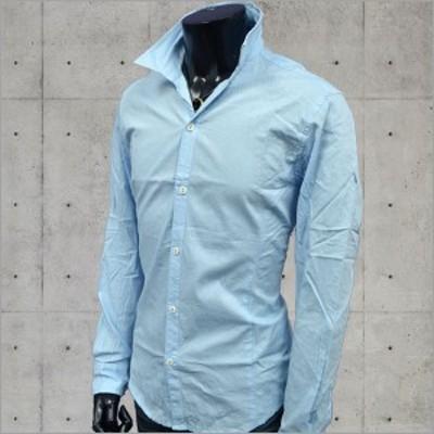 シャツ メンズ長袖シャツ イタリアンカラー シワ加工シャツ セミオープン サックスブルー スタンドカラーシャツ 綿100%   メンズ ファッ