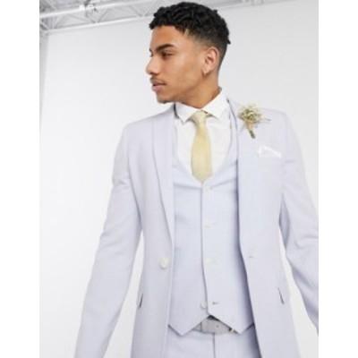 エイソス メンズ ジャケット・ブルゾン アウター ASOS DESIGN wedding super skinny suit jacket in lilac crosshatch Purple