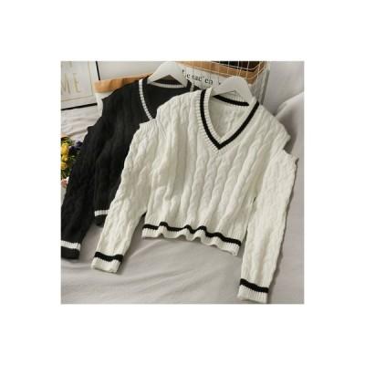 【送料無料】セーターの女性 秋冬 ストライプス 襟 ツイスト 紋 ミニ丈 何で   346770_A64225-2496944