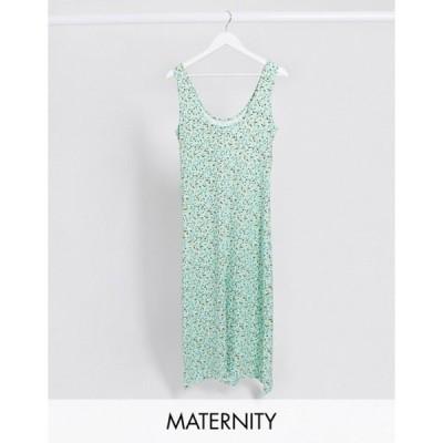 ママライシアス レディース ワンピース トップス Mamalicious Maternity bodycon maxi dress in green abstract print