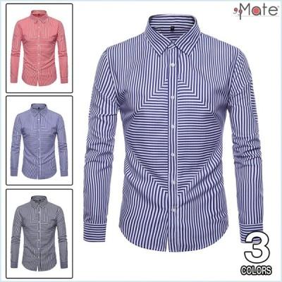 カジュアルシャツ メンズ シャツ 長袖 ワイシャツ ストライプ 開襟シャツ 通勤シャツ ビジネス トップス お兄系 着痩せ効果