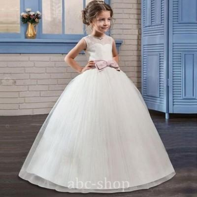 結婚式ノースリーブリボンドレス4colours発表会チュールスカートフォーマルパーティードレスフラワーガール120-170cmワンピー