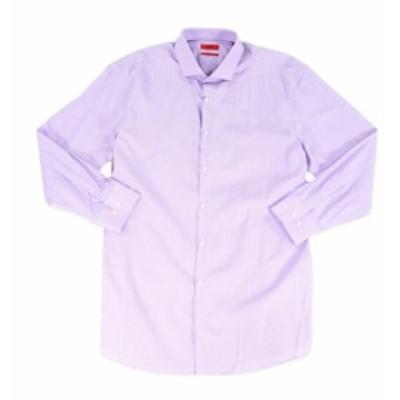 BOSS ボス ファッション ドレス Hugo Boss NEW Purple Mens Size 18 Shar Fit Stripe Print Dress Shirt