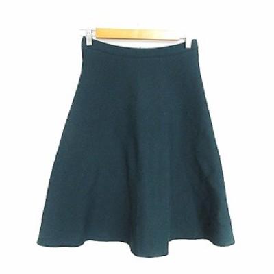 【中古】インディヴィ INDIVI スカート フレア ひざ丈 ニット 38 緑 グリーン /AAM31 レディース