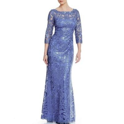 タダシショージ レディース ワンピース トップス Illusion Sleeve Sequin Corded Lace Gown Blue Stone