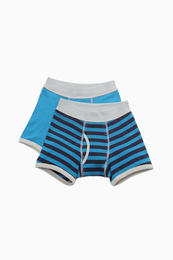 (男童二入組)線條冒險.滾邊四角內褲(綠藏青條/藍綠-淺灰)