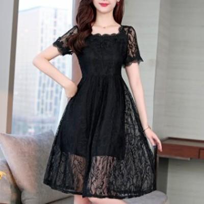 ワンピース ひざ丈 ドレス 夏 フリル 大きいサイズ 5XL 4XL 3XL 2XL 黒 #2752
