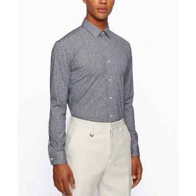 ヒューゴボス シャツ トップス メンズ BOSS Men's Piqué Slim-Fit Shirt Dark Blue