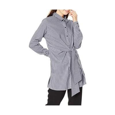 ナラ カミーチェ ウエストリボンストライプ長袖ロングシャツ 10-01-01-246 レディース ブラック 日本 M (日本サイズ9 号相当