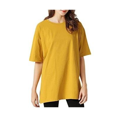 JHIJSC tシャツ レディース 半袖 無地 ゆったり 夏 薄手 おしゃれ 大きいサイズ (イエロー)