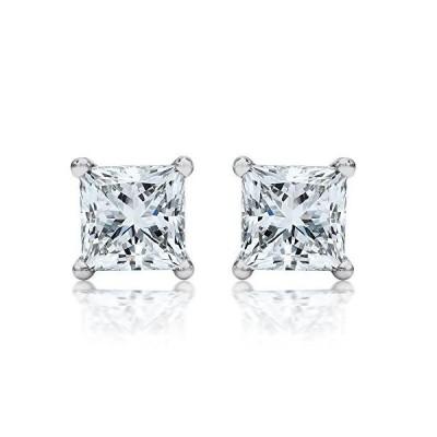 1/2 Carat 14K White Gold Solitaire Diamond Stud Earrings Princess Cut