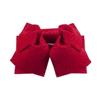 女性用 浴衣帯 作り帯 結び帯 無地 麻の葉 (レッド)
