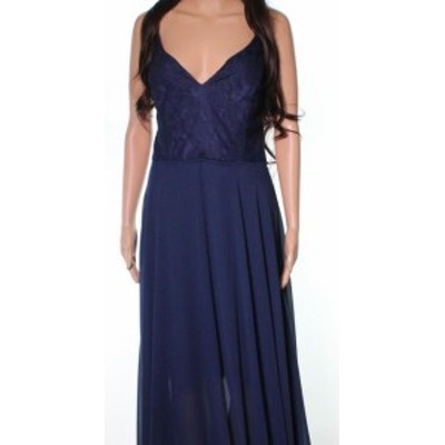 Hayley Paige ヘイリーペイジ ファッション ドレス Hayley Paige NEW Blue Laced Chiffon Overlay Womens 14 Convertible Gown