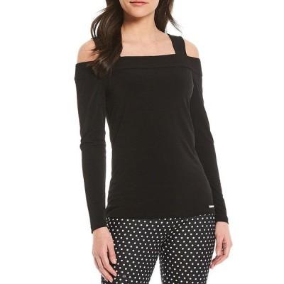 マイケルコース レディース Tシャツ トップス MICHAEL Michael Kors Lux Matte Jersey Foldover Neckline Cold-Shoulder Long Sleeve Top Black