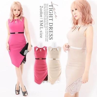 キャバ ドレス キャバドレス ワンピース ナイトドレス 大きいサイズ 透け レース タイト ミニドレス S M L