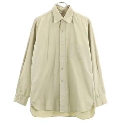 50s 長袖ワークシャツ ベージュ  マチ付きシャツ 三角当布 メンズ 古着 200417