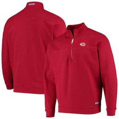 シンシナティ・レッズ Vineyard Vines Collegiate Shep シャツ Half-Zip ジャケット - Red