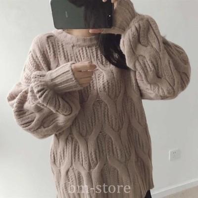 レディースニットセーター長袖ゆったりプルオーバートップスブラックベージュピンクグリーンホワイトフリーサイズ
