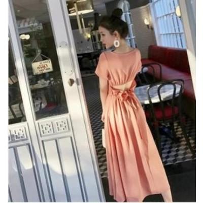 ロングワンピース 大きいサイズ 夏新作 夏服 ロングワンピース ゆったり バックコンシャス フリル リボン デザイン ロングワンピース S.M