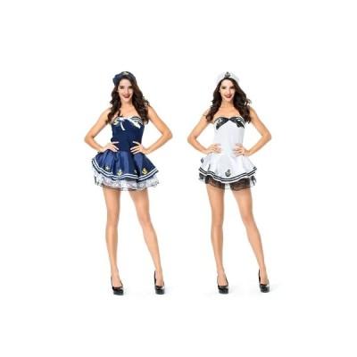 コスプレ 仮装 セーラー服 制服 マリン セーラー服 水兵 海兵 マリンキャップ 衣装 レディース 大人 大人用 ミニスカート 女性 可愛い 白 青 コスプレ衣装 衣…