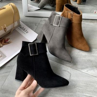 秋 冬 ショートブーツ アンクルブーツ ブーティー 靴 シューズ ブーツ お出かけ お呼ばれ 大人 綺麗め バックル 太ヒール