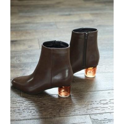 ブーツ サークルクリアヒールの1枚甲美脚ショートブーツ