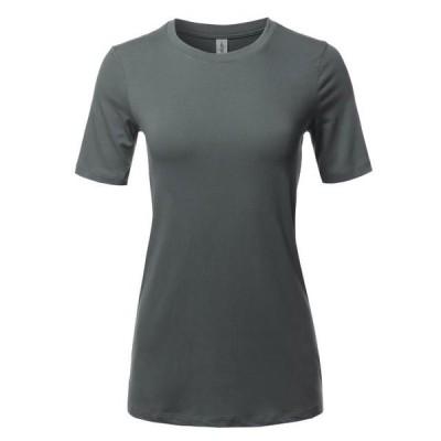 レディース 衣類 トップス A2Y Women's Basic Solid Premium Cotton Short Sleeve Crew Neck T Shirt Tee Tops Ash Grey S