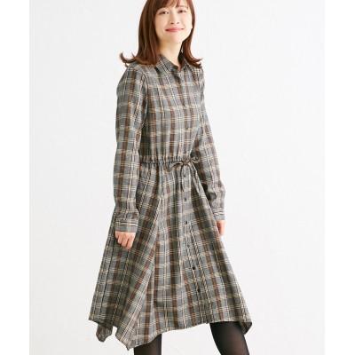チェックイレヘムシャツワンピース (ワンピース)Dress