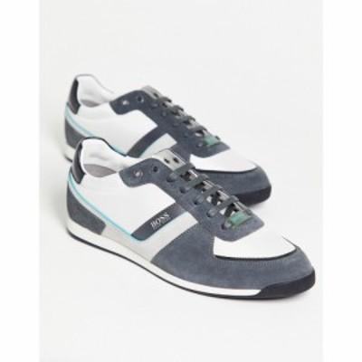 ヒューゴ ボス BOSS by Hugo Boss メンズ スニーカー シューズ・靴 BOSS athleisure glaze runner trainers in white ホワイト