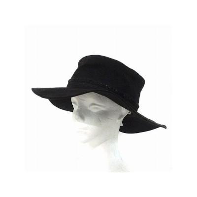 【中古】リリーブラウン Lily Brown ハット つば広 フェイク スエード 装飾 スパンコール レース 黒 F 帽子 レディース 【ベクトル 古着】