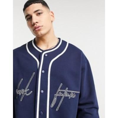 エイソス メンズ シャツ トップス ASOS Dark Future oversized baseball sweatshirt with chest and back embroidery in navy Peacoat