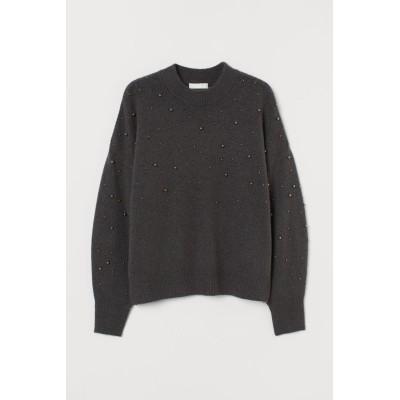 H&M - スタッズセーター - グレー
